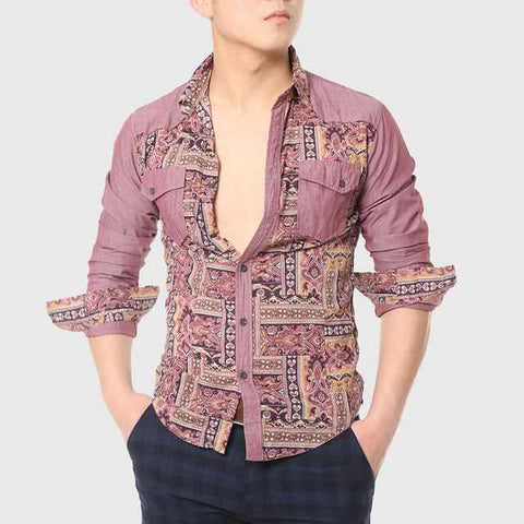 Men Designer Ethnic Male Totem Print Shirt Work Long Sleeve Patchwork Gothic Cool Collared Chinese Stylish
