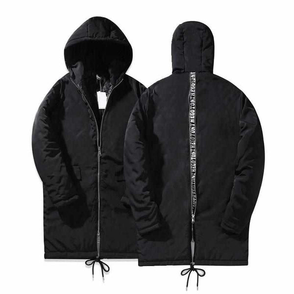 Letter Printed Back Zipper Men Coat With Hoody Padded Parkas Coats