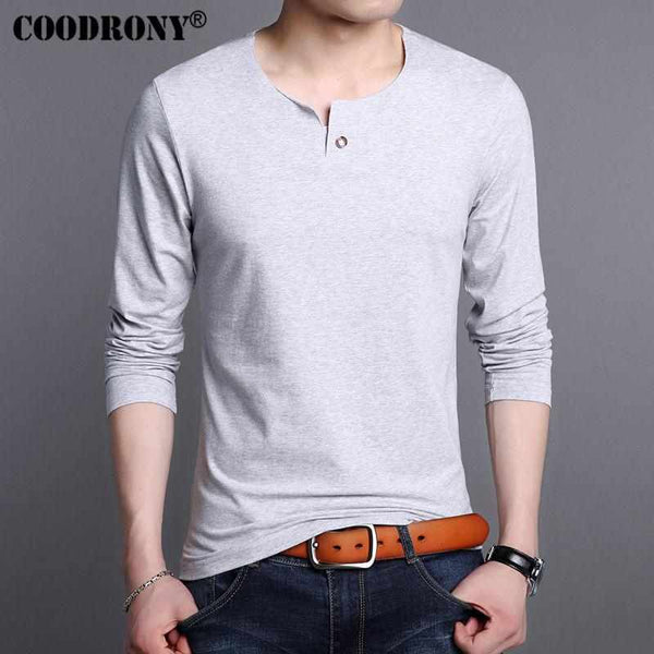 Men COODRONY Pure Cotton T Shirt Long Sleeve T-Shirt Men Henry Collar Tshirt Men Fashion O-Neck Tops 7615