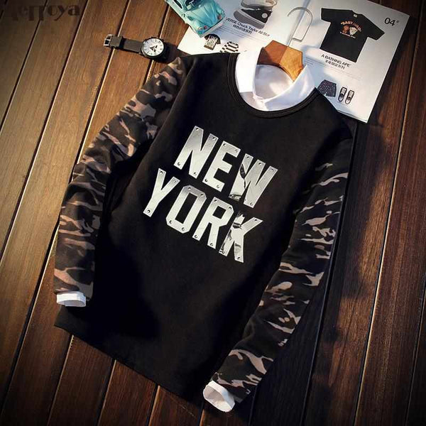 Men New York Camouflage Long Sleeve T Shirt Tee