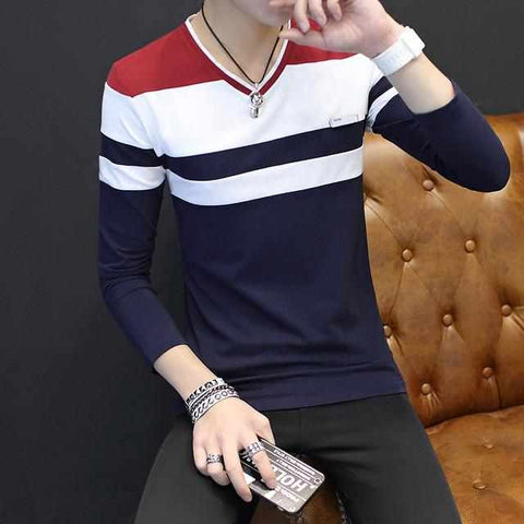 Male T Shirts V Neck Long Sleeve Slim Cotton Stripe Korean Contrast Fashion Plus Size 4XL 5XL