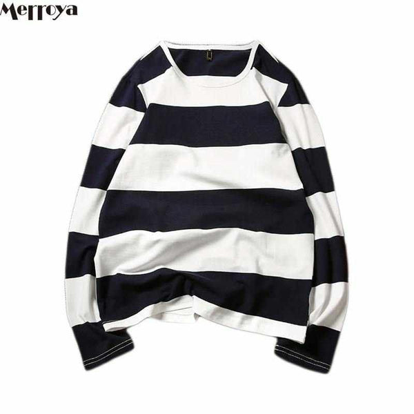 Men Arrival Cotton Stripe Round Neck Long Sleeve Men's T Shirts Tees Tops Spring Clothing 5XL