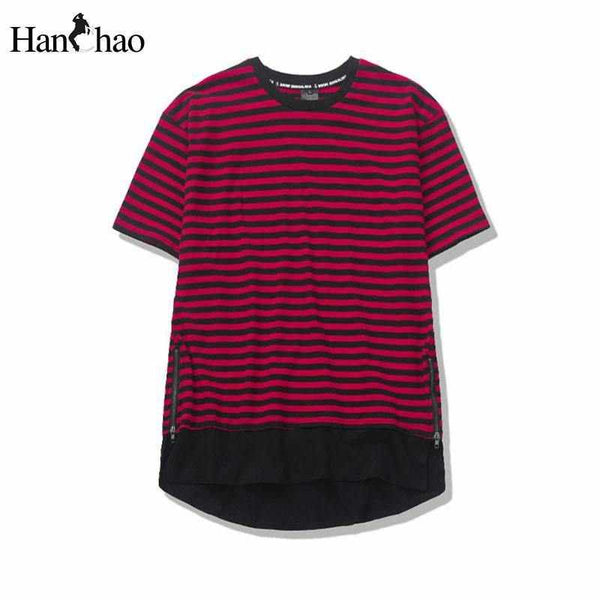 Men Curved Hem Side Zipper T-shirt Striped Longline Tee