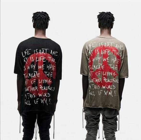high quality men Freedom t-shirt kanye Cotton Short sleeves Crimping Sling Print Tee