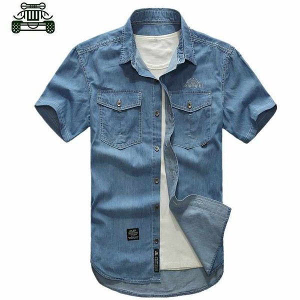 High quality military men's short-sleeve Denim shirt,Cotton casual chemise tops Plus Size men clothes