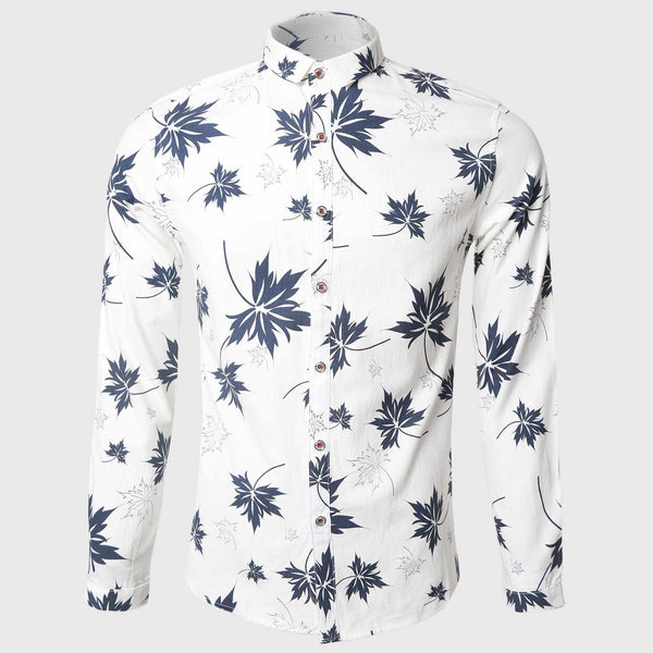 Men Leaves Printed Long Sleeve Shirt White Casual Shirts Cotton Turn Down Collar Hawaiian Freedom