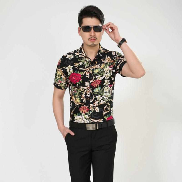 Male Shirts 2017 New Summer Fashion Men's Clothing Printed Tops Slim Fit Floral Hawaiian Shirt Short Sleeve Shirt Blusa Sociais