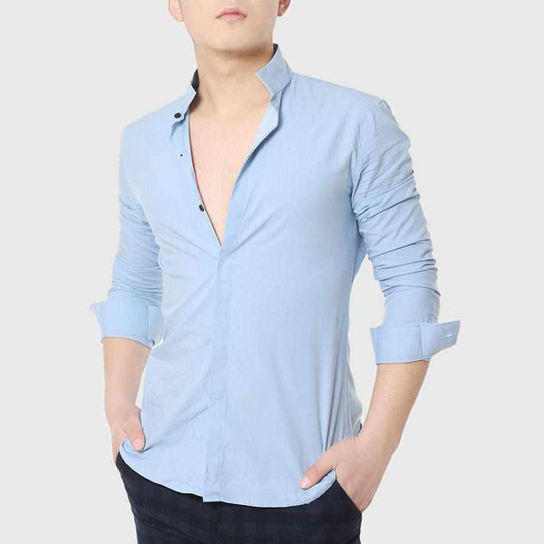Men Formal Dress Shirts Mandarin Collar Skinny Shirt Long Sleeve Business Plain Cotton Social Designer White Gentleman Pink Wear
