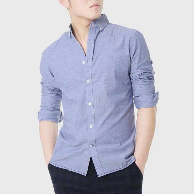 5f916d623a9 ... Mens Slim Fitted Shirts Social Men Casual White Shirts Oxford Chambray  Cowboy Plain Linen Shirts Designer ...