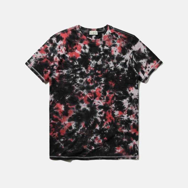Abstract Sky Tie Dyeing O-neck Washing Material Cotton T-shirt Men Short Sleeve Tee