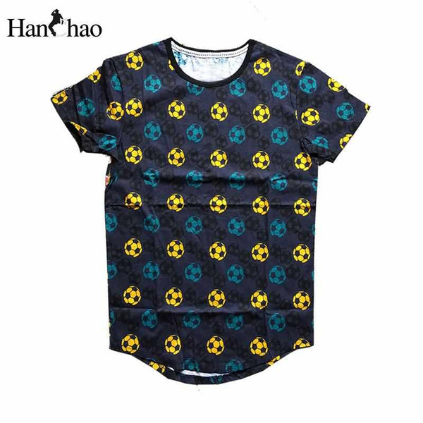 Men Full Printing Curve Hem Hip Hop T-shirt Tee