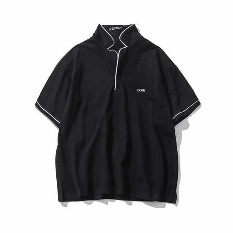 Men Letter Embroidery Stand Collar Polo Shirt Short Sleeve High Quality Color Block Casual Polo Shirt Men Cotton