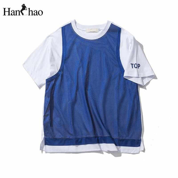 Men Double Layer with Net Tee Hi-end Fashion O-Neck Casual T-shirt for Men Short Sleeve Blue White