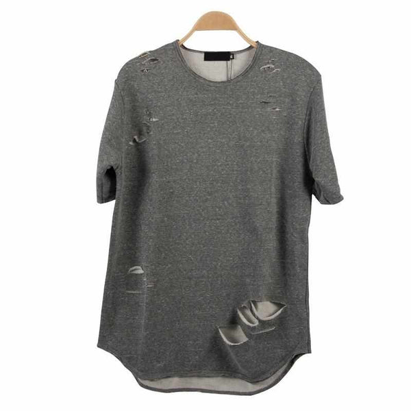 Men High Quality Ripped Curve Hem T-shirt Tee Shirts Short Sleeve Grey Cotton
