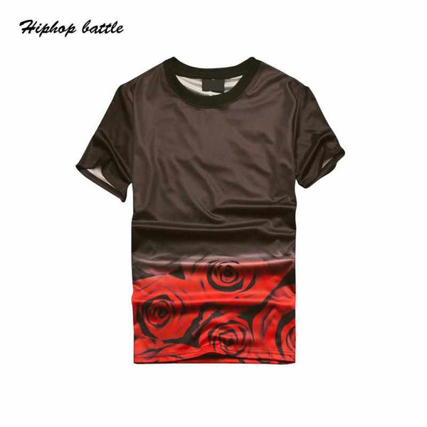 Men Floral Printed Tshirts Summer O-neck Casual Tee Short Sleeve Clothing
