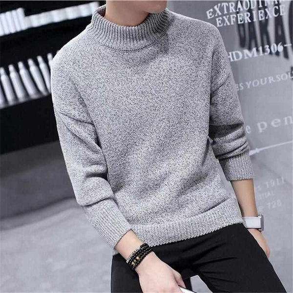 Men Solid Colors Turtleneck Knitted Pullovers Winter Warm Thick Sweate  3b72c2342