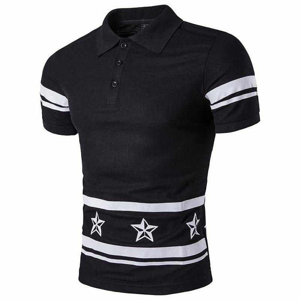 Men Five-Pointed Star Printing T-Shirt Letter Printed Men's Fashion T Shirts Stripe Short Sleeves T-Shirt z15
