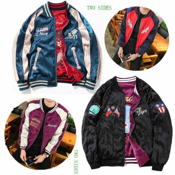Men Both Sides Flying Tiger Military Souvenir Jacket Eagle Tiger Bomber Embroidery Coats Both Sides Souvenir Jacket