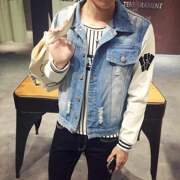Men Denim Ripped Jeans Jacket Patchwork Long Sleeve Casual Veste Homme Windbreaker Man Coat 5XL-M