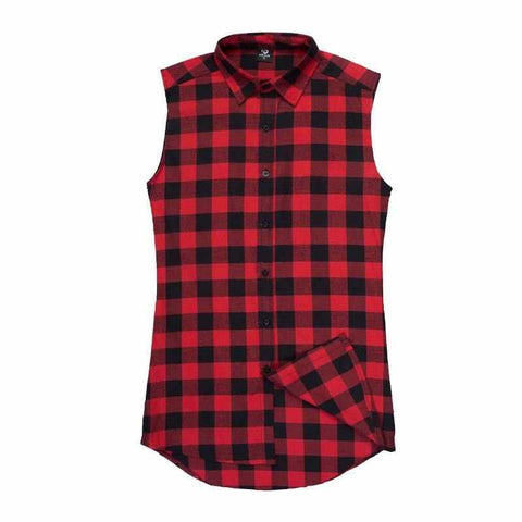 Men Chris Brown Plaid Sleeveless Shirt T-shirt Hip-Hop Skateboard Double Zipper lk T-shirt Tank Top
