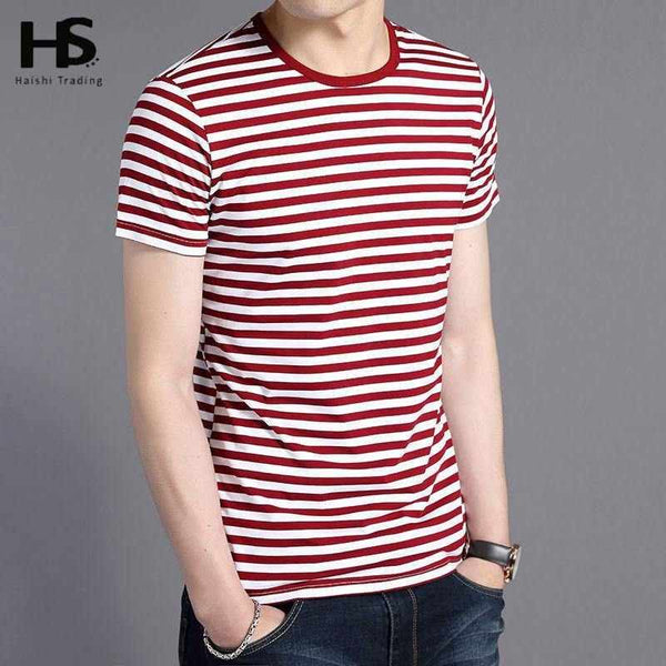 Free Shipping Cotton T Shirt Men Pinstriped O-Neck Tee Slim Fit