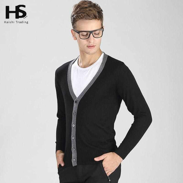 Cardigan Men Sweater Solid Color V-Neck Knitted Wool Cardigans Casual Thin