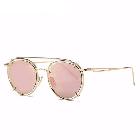 Round Retro Reflective Sunglasses