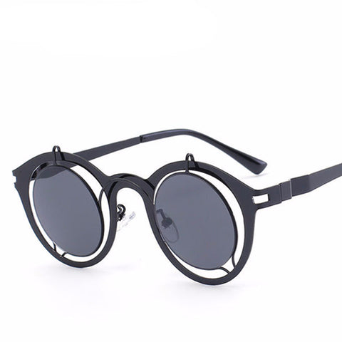 Men Steampunk Hollow Frame Round Sunglasses