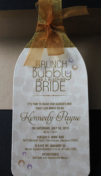 Wine Bridal Shower Invitation with Bubbles II