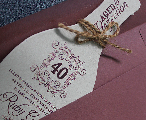 Rustic Wine Bottle 40th Birthday Invitation