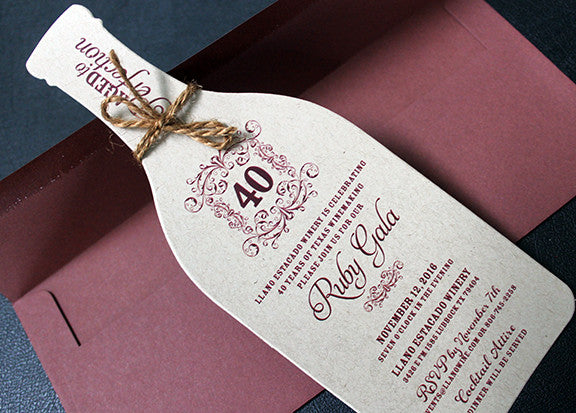 rustic wine bottle invitation