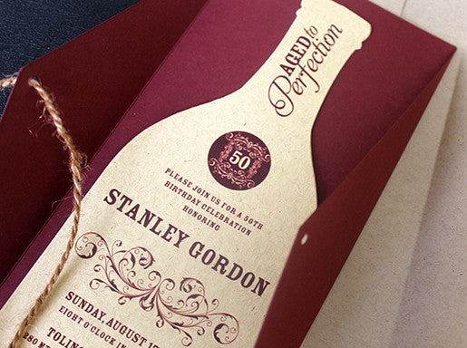 50th birthday wine bottle invitation
