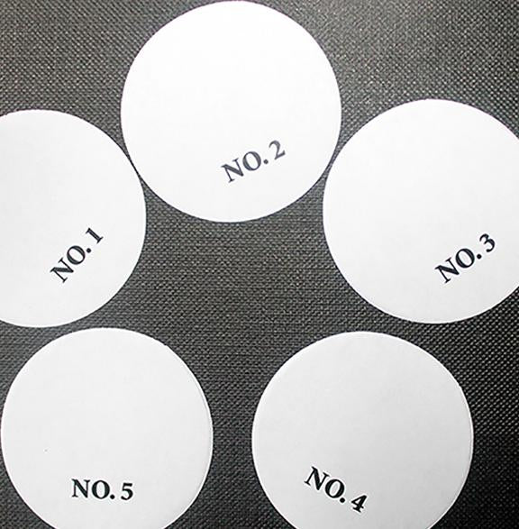 Paper Smears - 1 5/8 | Numbered Paper Smears | Paper Swipes | Numbered Paper Swipes | Specialty Circles 1 5/8'