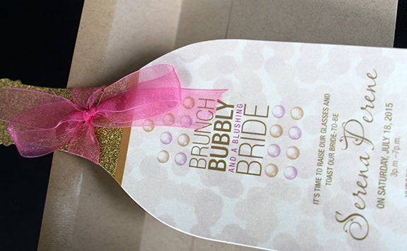 Wine Bridal Shower Invitation with Bubbles