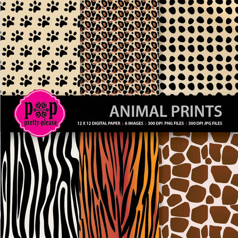 animal prints digital paper