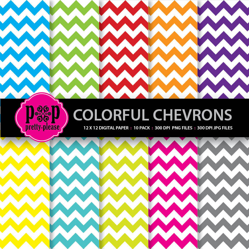 Chevron Digital Paper - Bright Colors