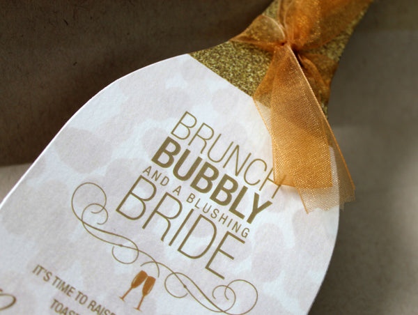 Wine Bridal Shower Invitation with Bubbles III