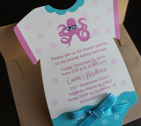 onesie octopus birthday invitation