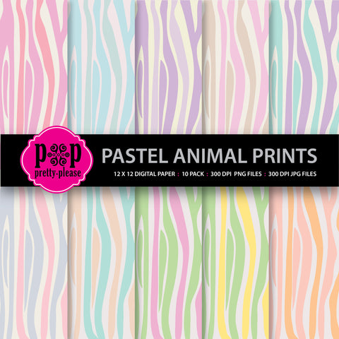 Pastel Animal Prints Digital Paper