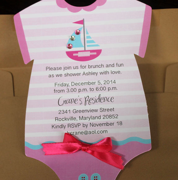 onesie sailboat birthday invitation