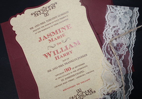 Lace Wedding Invitation | Wedding Anniversary Invitation | Rustic Wedding Invitation