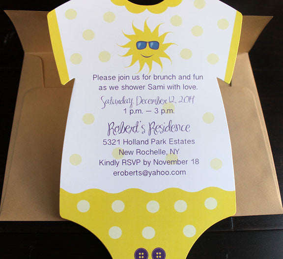 onesie sunshine birthday invitation