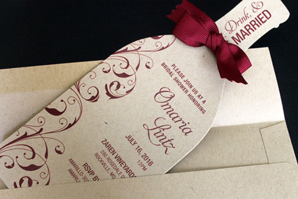 Wine Bridal Shower Invitation | Wine Party Invitation: Side Swirls in Wine