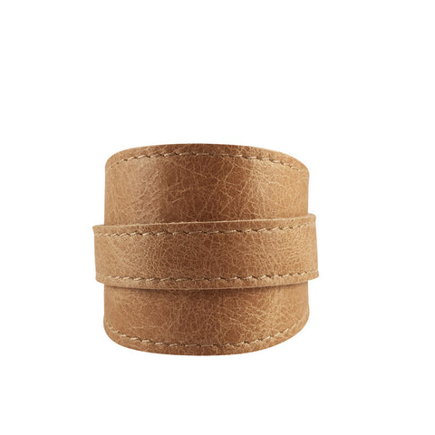 Vintage Light Tan Leather Crop Cuff