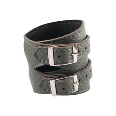 Storm Grey Leather Outcrop Cuff