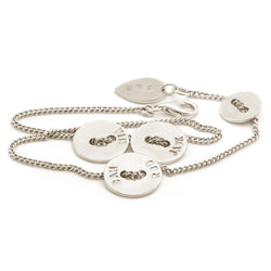 Sterling Silver Button Wrap Bracelet
