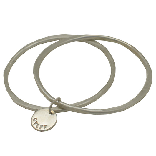 Sterling Silver Double Bangle Set with Disc
