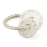 Sterling Silver Personalised  Keyring with 2 Discs