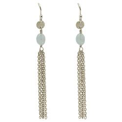 Sterling Silver Aquamarine Chain Drop Earrings