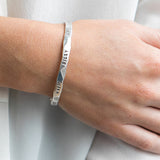 Sterling Silver Personalised Beaten Bangle